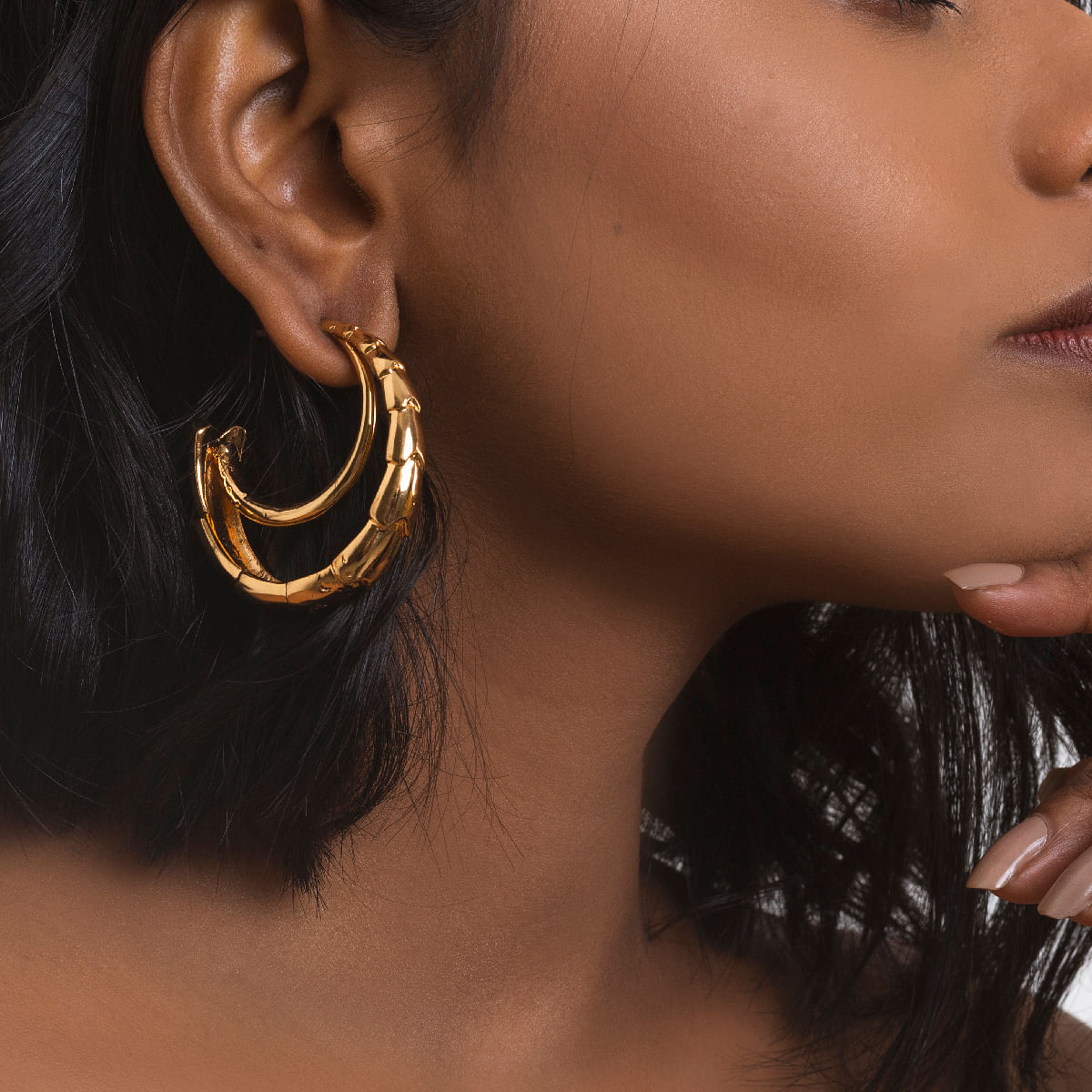 Textured Layered 22 Kt Gold Plated Hoops