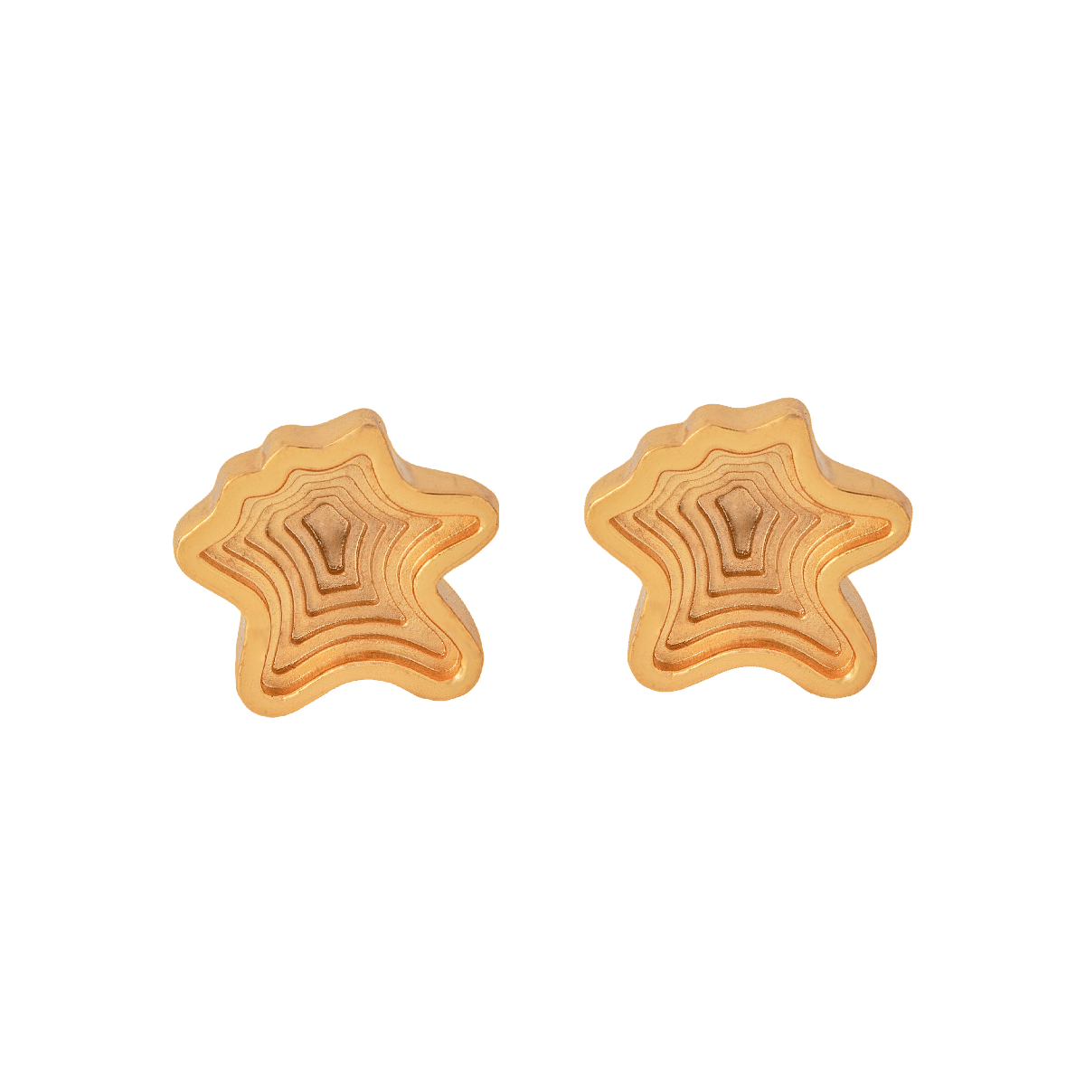 Layered 22 Kt Gold Plated Studs