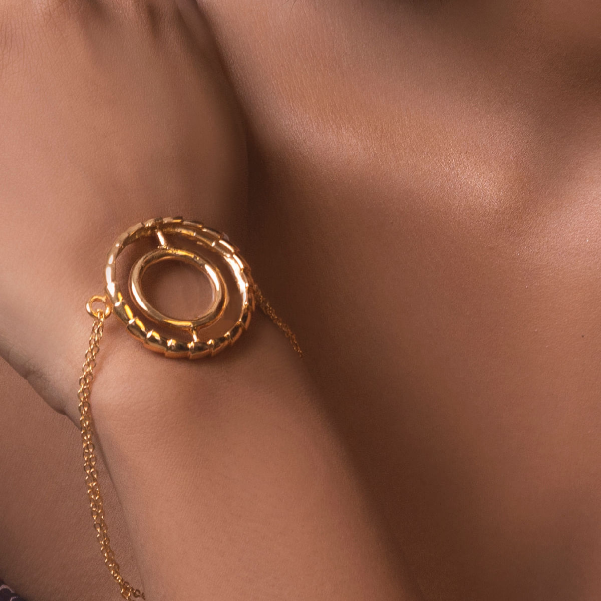 Concentric Circle 22Kt Gold Plated Bracelet
