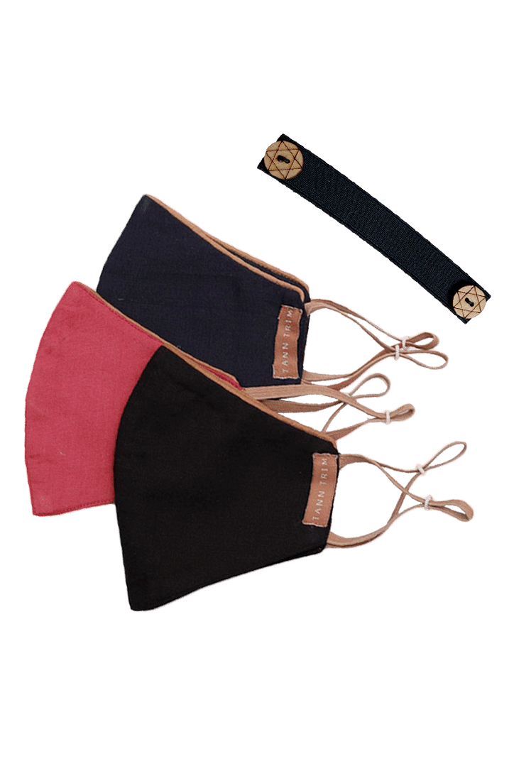 Set of 3: Cotton Mask With Neckband