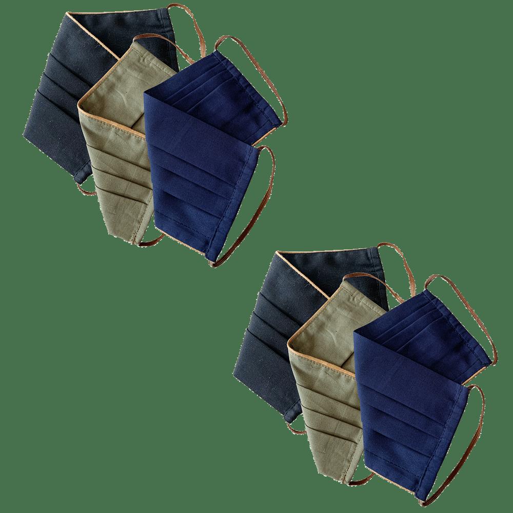 Set of 6: Black, Blue & Green ReusableMask