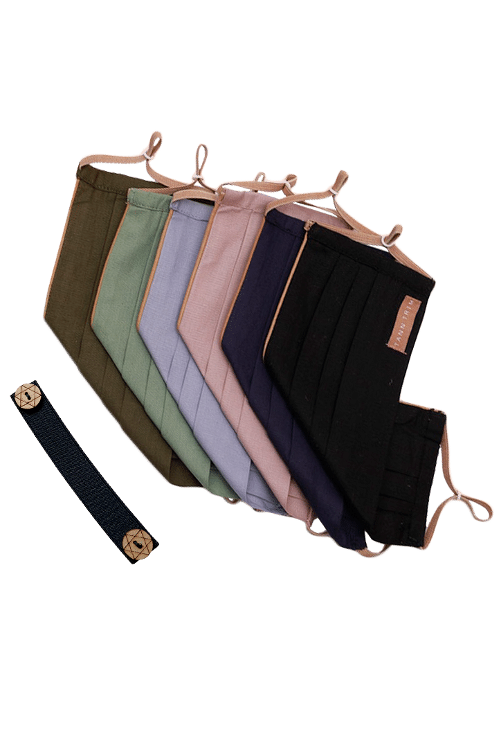Set of 6: Reusable Cotton Mask With Neckband